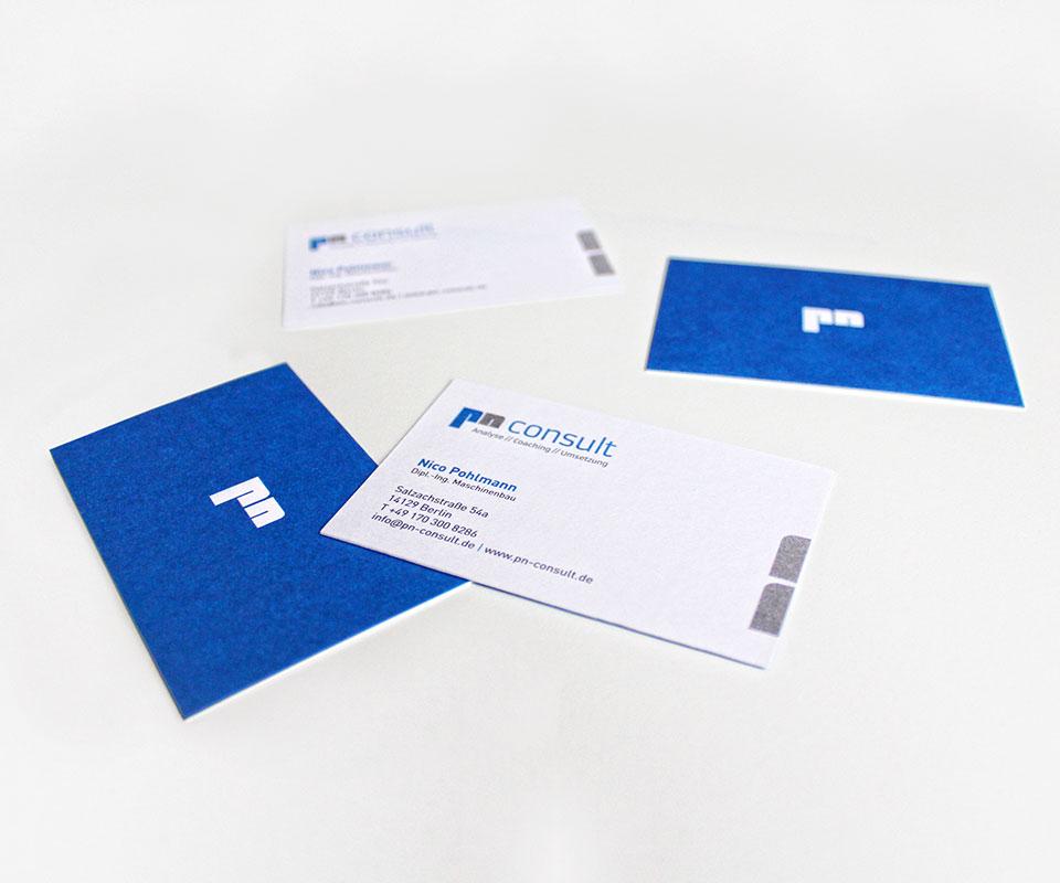 CI für Unternehmensberater Nico Pohlmann – Visitenkarten
